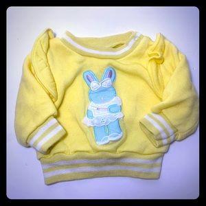 Vintage Girls Yellow Bunny Ruffled Shirt Infant